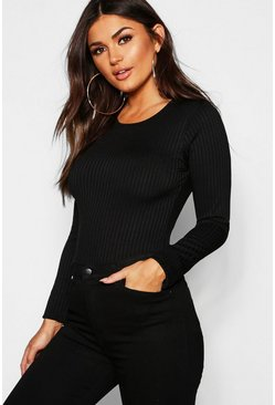 Womens Black Long Sleeve Jumbo Rib T-Shirt