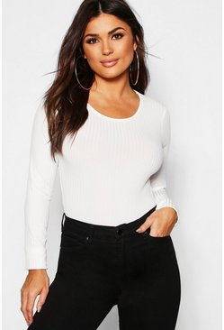 Womens Ivory Long Sleeve Jumbo Rib T-Shirt