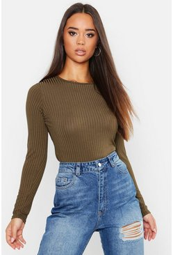 Khaki Long Sleeve Jumbo Rib T-Shirt