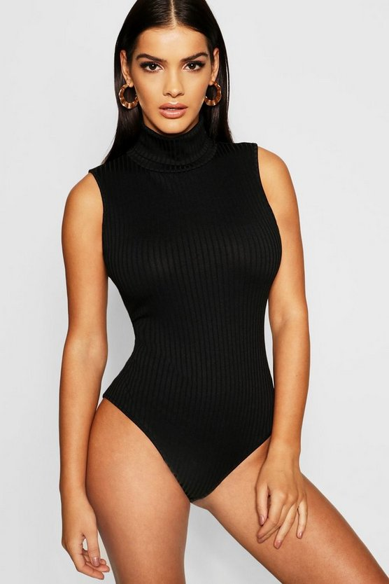 Womens Black Sleeveless Jumbo Rib High Neck Bodysuit