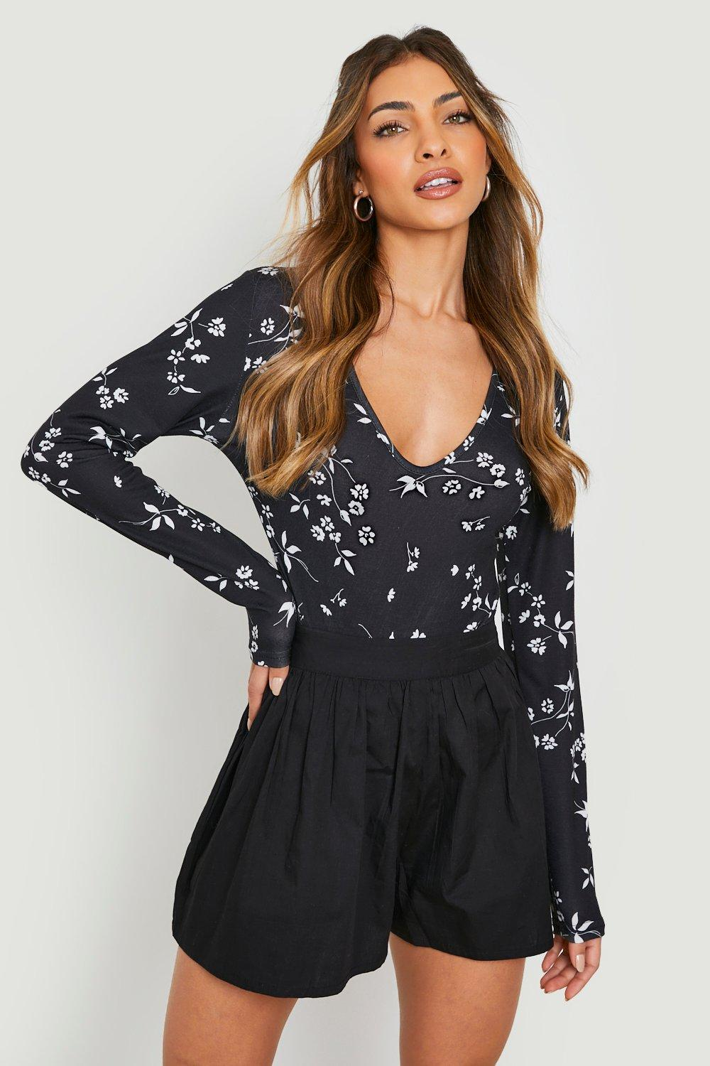 Floral V Neck Long Sleeve Bodysuit