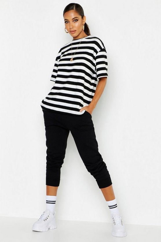 Black Brushed Stripe Oversized T-Shirt