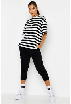 Womens Black Brushed Stripe Oversized T-Shirt