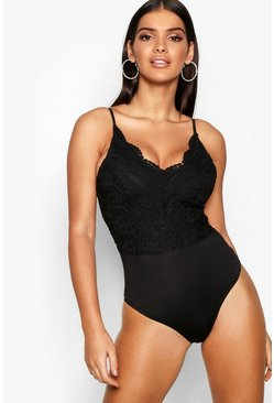 Premium Lace Bodysuit, Black, Женские