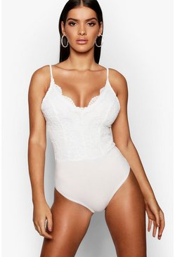 White Premium Lace Bodysuit