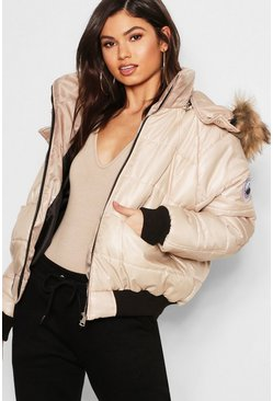 Womens Stone Faux Fur Trim Cire Puffer Jacket