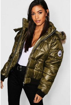 Womens Khaki Faux Fur Trim Cire Puffer Jacket