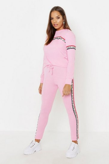 Pink Love Tape Trim Jogger Set