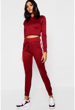 Womens Burgundy Side Stripe Tracksuit