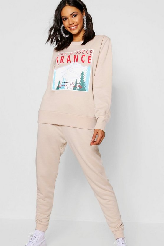 Womens Ecru Christmas Val D'isere Sweat & Jogger Set