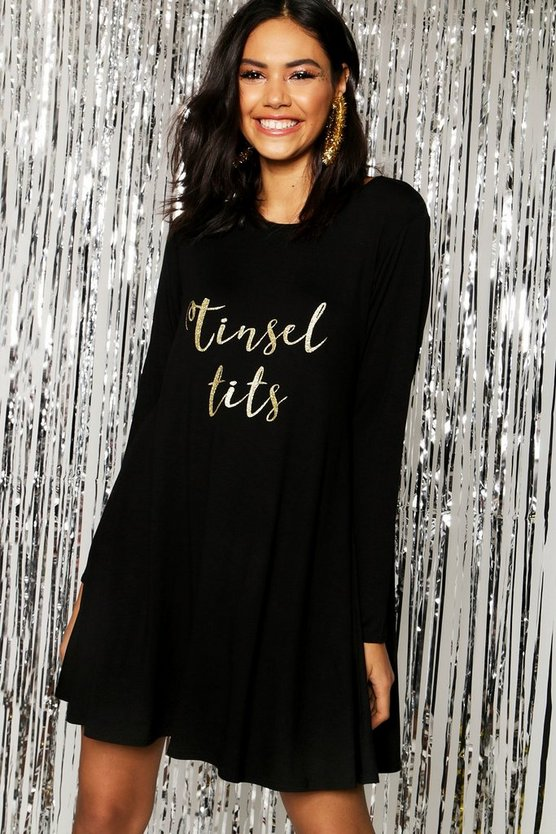 Christmas Tinsel Tits Glitter Slogan Swing Dress