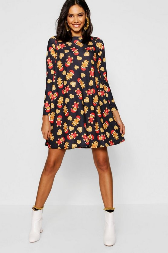 Christmas Gingerbread All Over Swing Dress