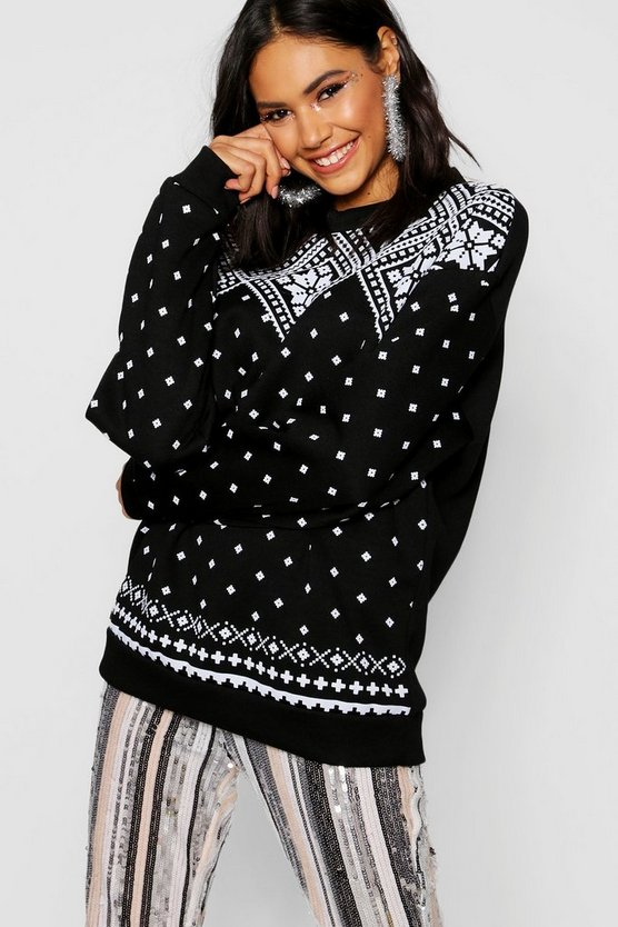 Christmas Fairisle Print Sweat Jumper