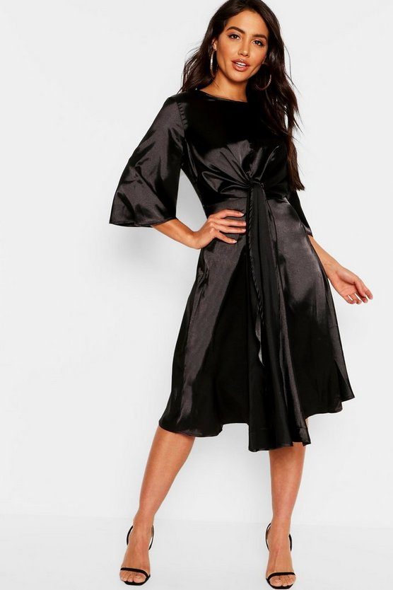 Womens Black Satin Knot Front Kimono Sleeve Midi Dress