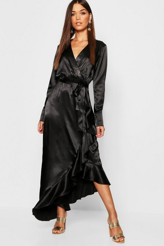 Satin Ruffle Wrap Maxi Dress