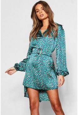 Womens Teal Leopard Print Tie Waist Shirt Dress