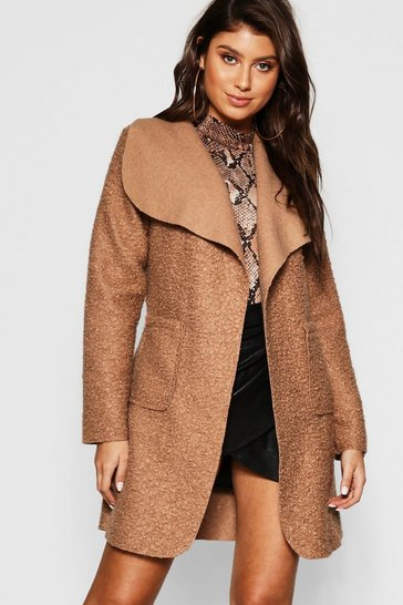 Womens Camel Belted Textured Shawl Collar Coat