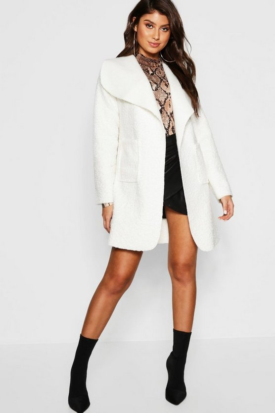 Belted Textured Shawl Collar Coat