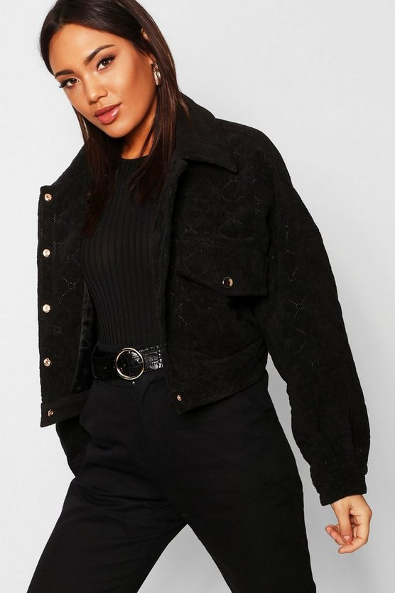 Womens Black Quilted Trucker Jacket