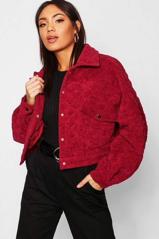 Womens Burgundy Quilted Trucker Jacket