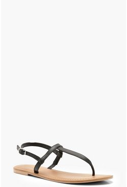 Womens Black Plain Toe Thong Leather Sandals