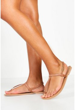 Womens Tan Plain Toe Thong Leather Sandals