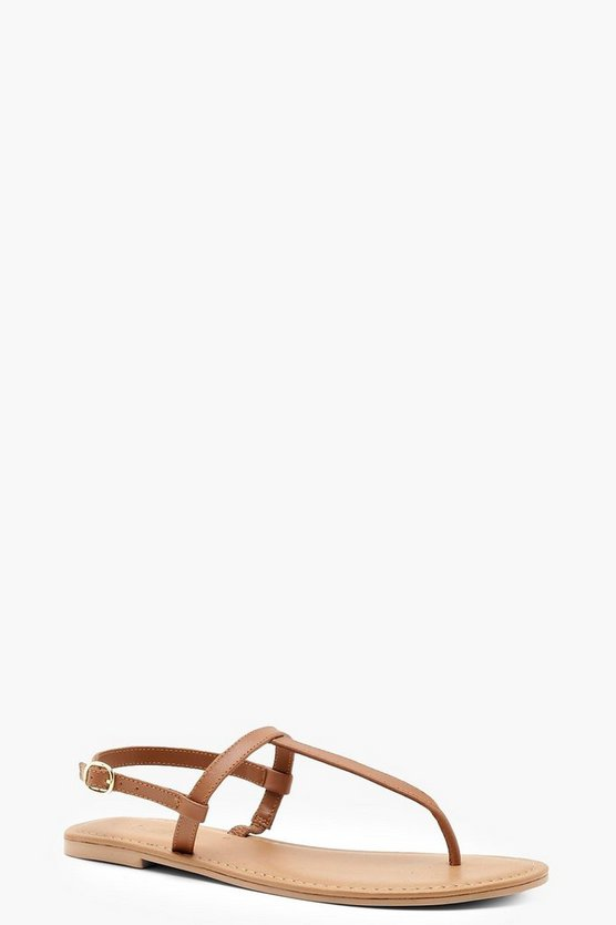 Plain Toe Thong Leather Sandals