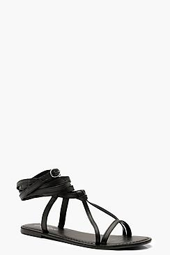 Wrap Strap Leather Ghillie Sandals