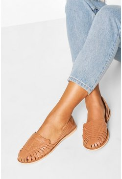 Womens Tan Leather Woven Ballets