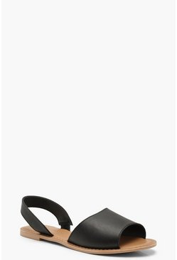 Womens Black 2 Part Peeptoe Leather Sandals
