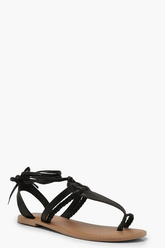 Womens Black Leather Toe Post Ghillie Sandals