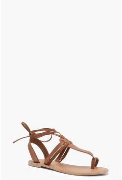 Womens Tan Leather Toe Post Ghillie Sandals