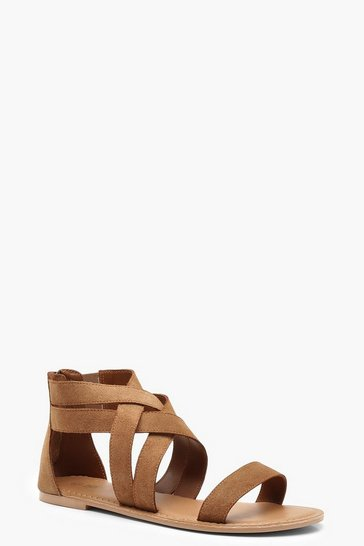 Womens Tan Multi Strap Gladiator Suede Sandals