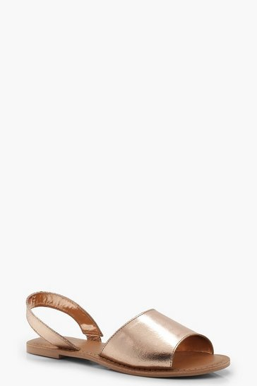 Womens Rose gold 2 Part Metallic Leather Sandals