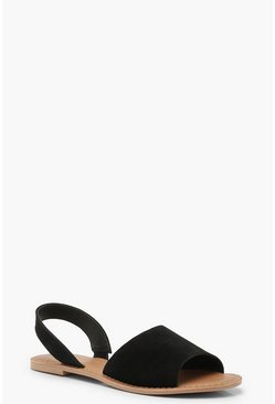 Black 2 Part Peeptoe Suede Sandals