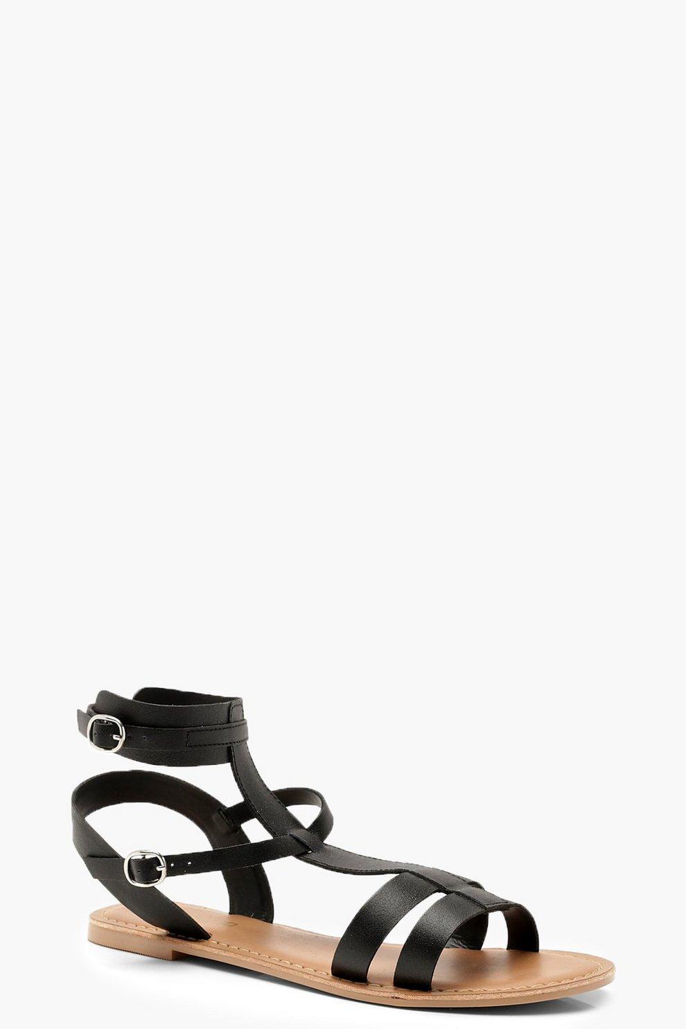 81aeca945c0 Multi Strap Leather Gladiator Sandals