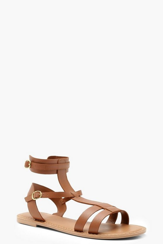 Tan Multi Strap Leather Gladiator Sandals