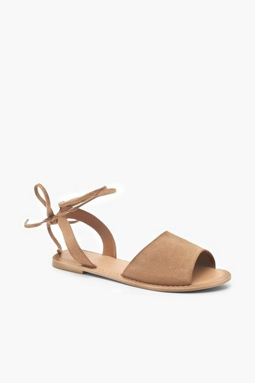 Tan Suede Peeptoe Wrap Ankle Strap Sandals