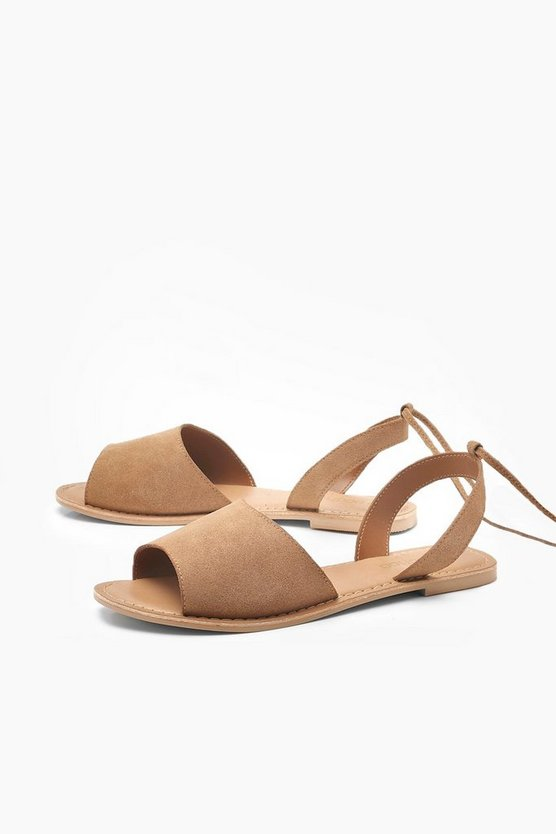 Suede Peeptoe Wrap Ankle Strap Sandals