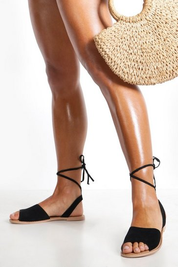 Womens Black Suede Peeptoe Wrap Ankle Strap Sandals