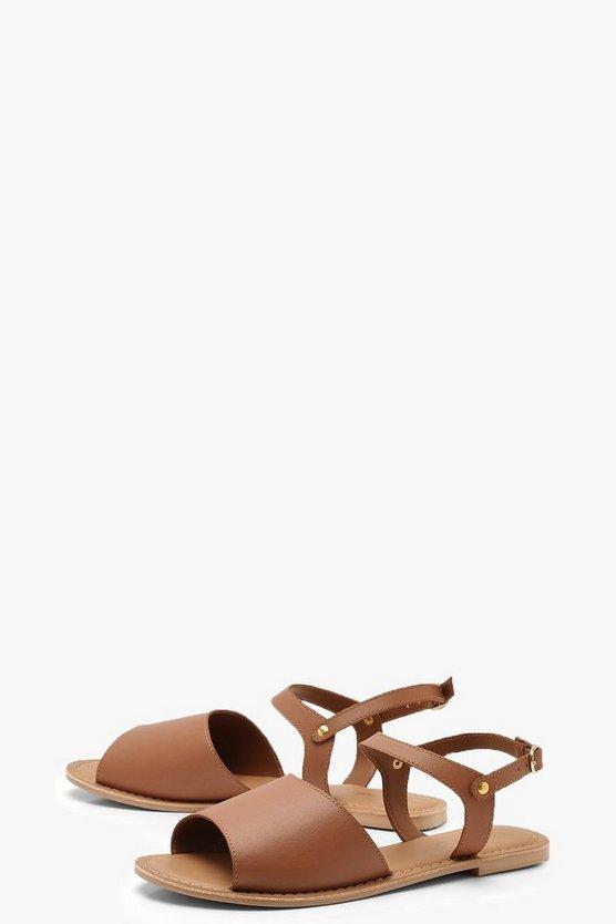 Peeptoe Ankle Strap Leather Flat Mule Sandals