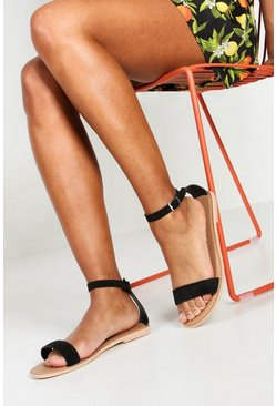 Womens Black Wide Fit 2 Part Suede Sandals
