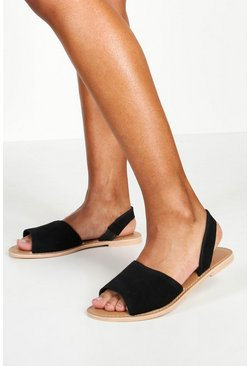 Black Wide Fit 2 Part Peeptoe Suede Sandals