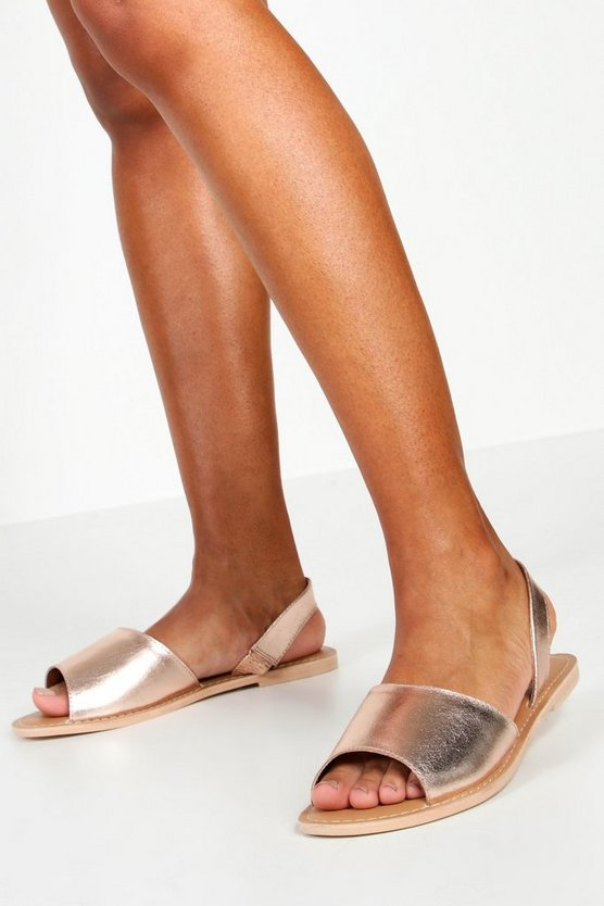 Rose gold Wide Fit 2 Part Metallic Leather Sandals