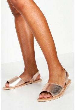 Womens Rose gold Wide Fit 2 Part Metallic Leather Sandals