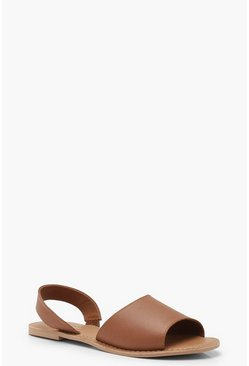 Tan Wide Fit 2 Part Peeptoe Leather Sandals