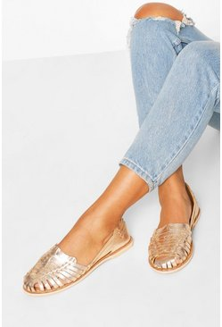 Womens Rose gold Wide Fit Metallic Leather Woven Ballets