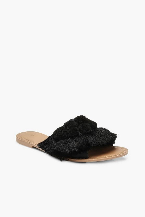 Womens Black Pom Pom Frill Leather Sliders