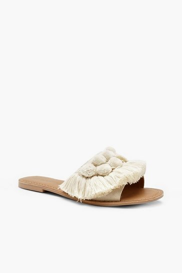 Cream Pom Pom Frill Leather Sliders