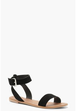 Womens Black Two Part Suede Sandals